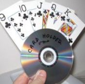 Making a Card Holder from CDs #recycledcd A holder for a hand of cards from a recycled CD #recycledcd