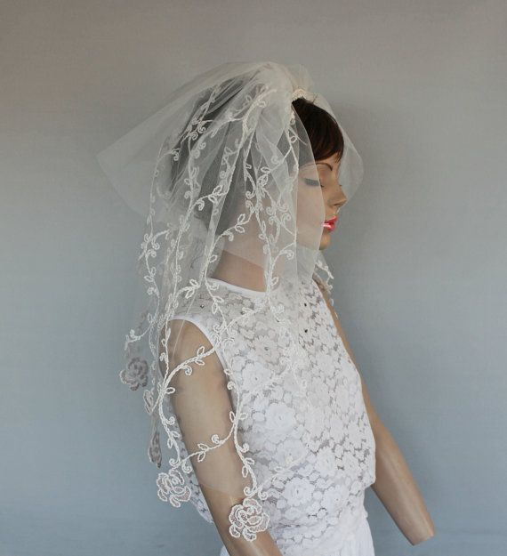 Applique Lace Tulle Dramatic Veil Waist Length Two Tiers 2