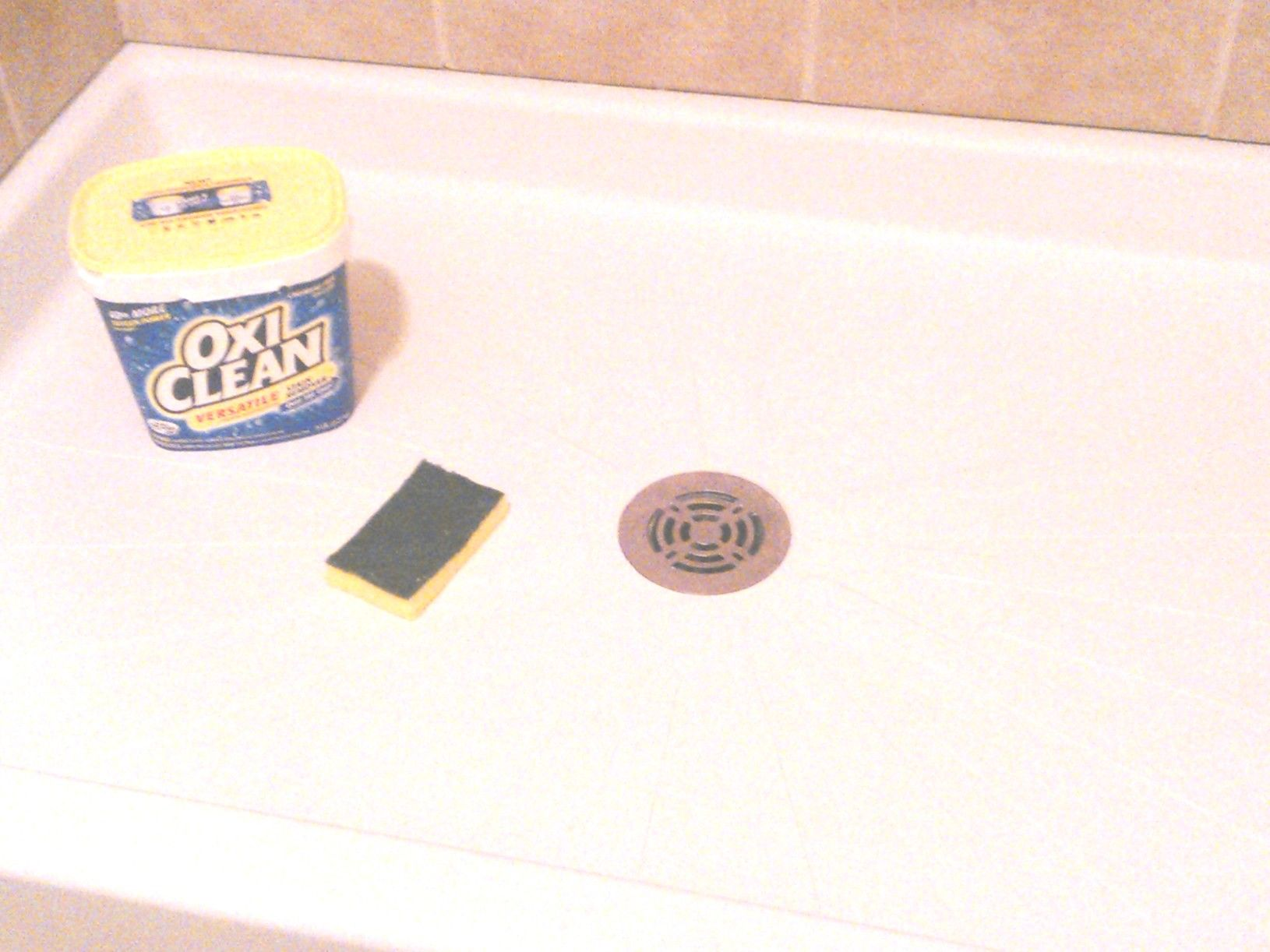 Make A Shower Pan Look Like New Oxiclean And A Scrub