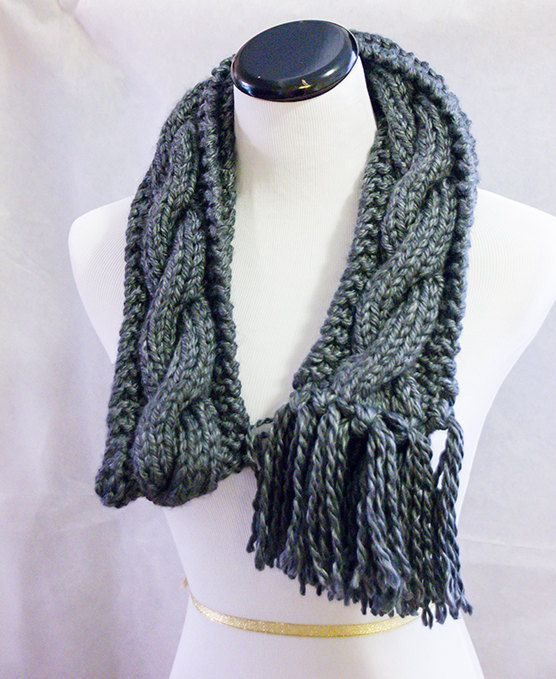 Hand Knitted chunky cable design scarf, charcoal grey, scarf, cosy, gift, holiday gift, gift for her, winter trend,