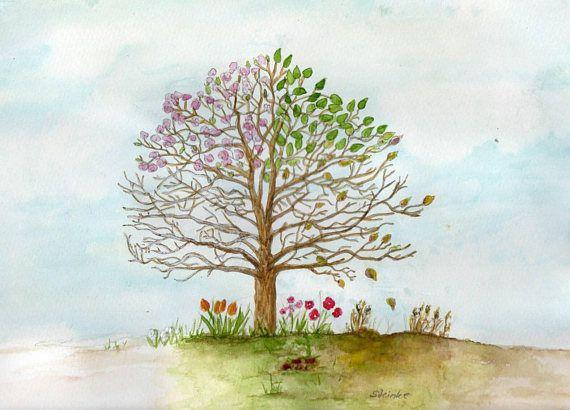 fourseason tree original watercolour painting