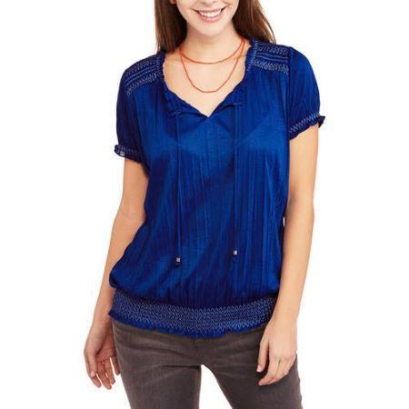 b95b1211587 Faded Glory Women's Short Sleeve Peasant Top with Front Tassels and Elastic  Waist - Walmart.com ($6.50)