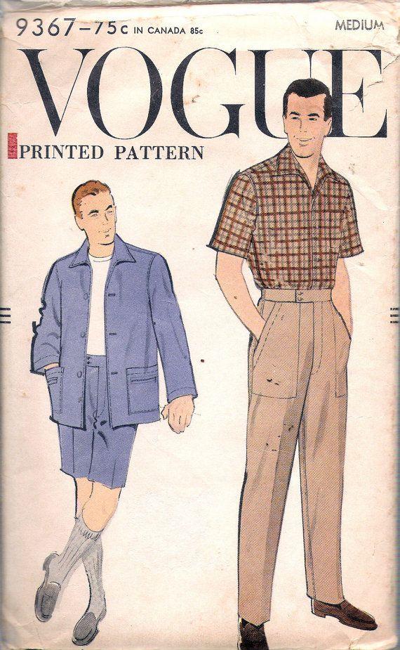 Vintage 1950\'s Vogue 9367 Men\'s Shirt, Slacks & Shorts Sewing ...