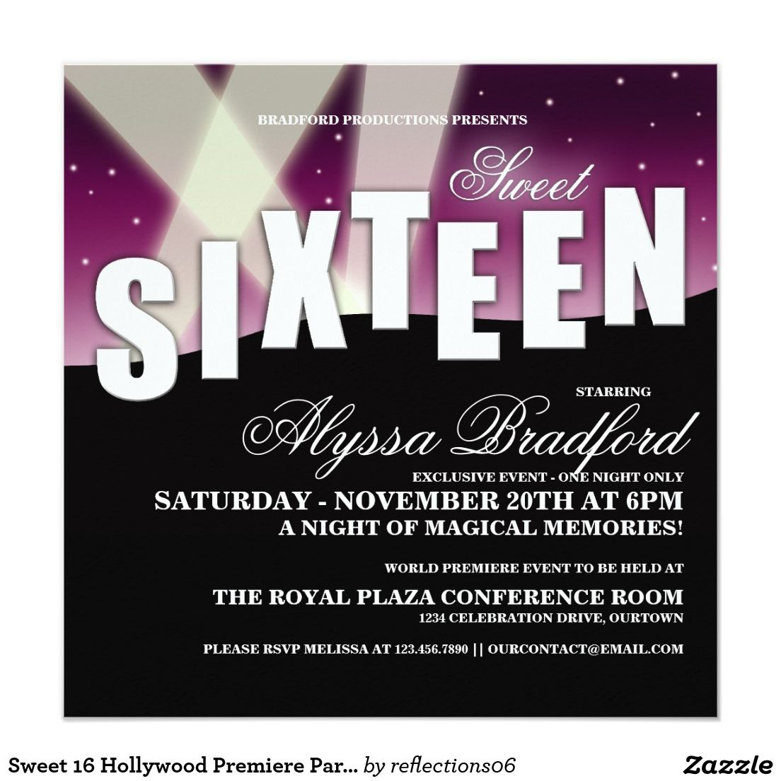 Sweet 16 Hollywood Premiere Party Invitations | Hollywood Sweet 16 ...