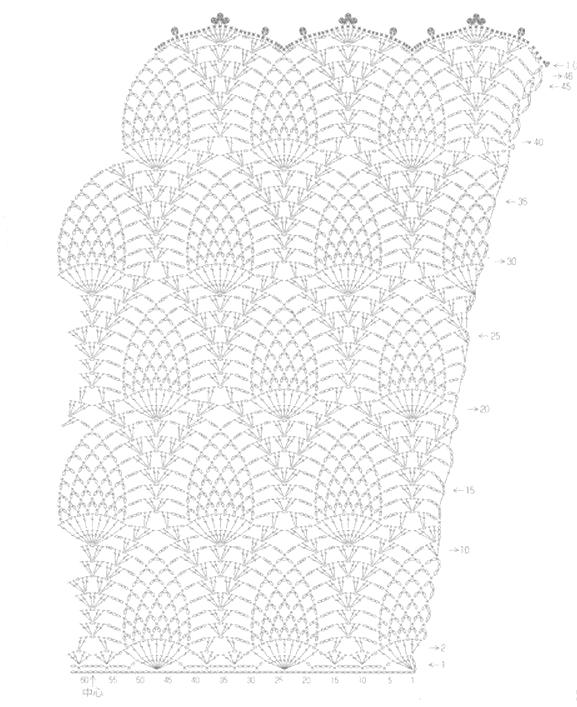 Patrones Crochet de Vestido Punto Piña | Crochet y Dos agujas ...