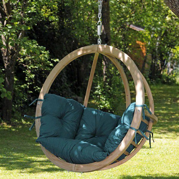 amazonas globo wooden hanging swing chair