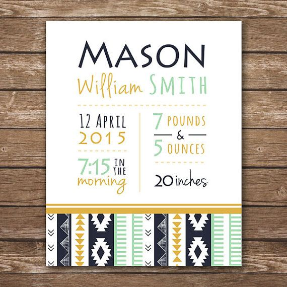 Personalized baby birth stats caden lane gold and mint aztec bedding custom nursery wall art printable digital file