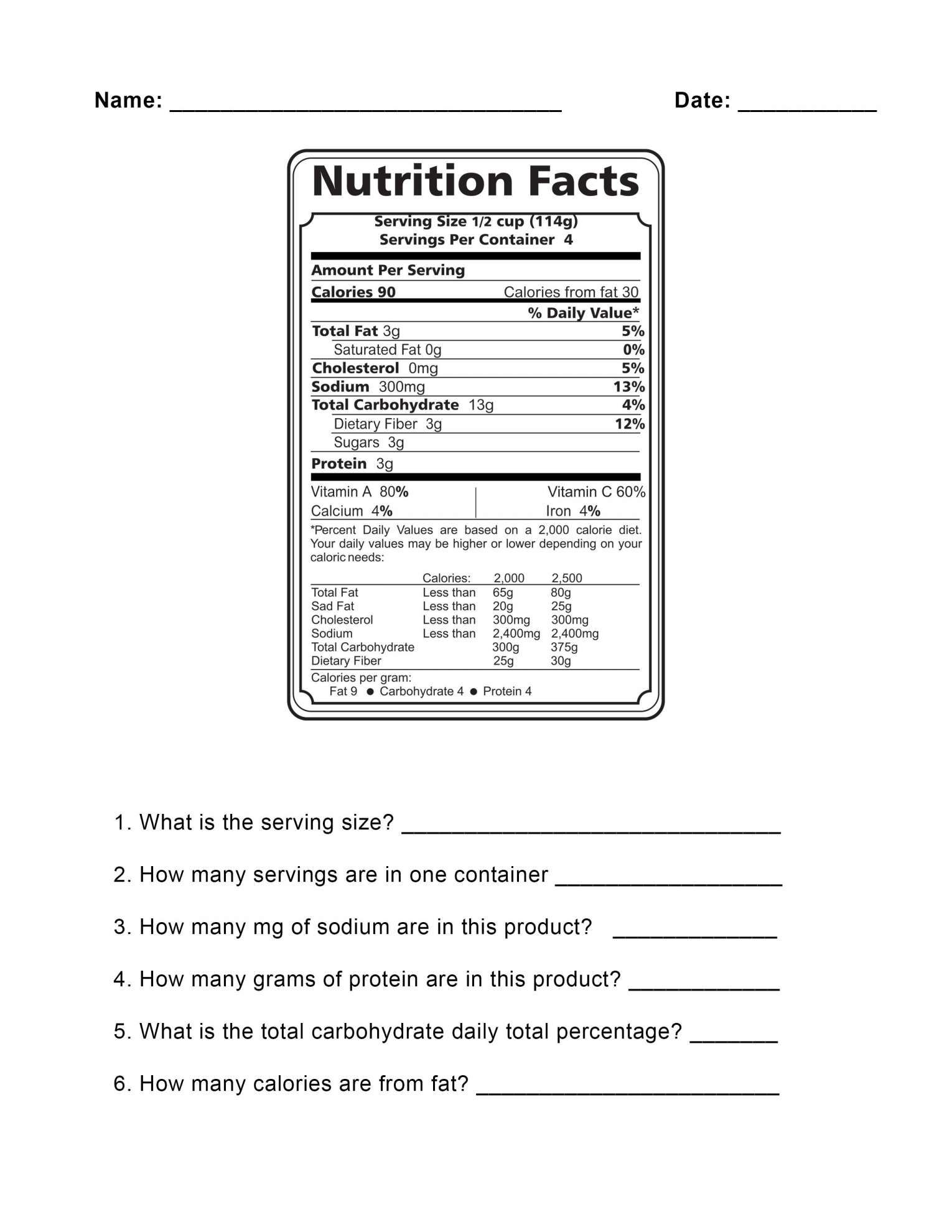 9 Nutrition Fact Label Reading Worksheet