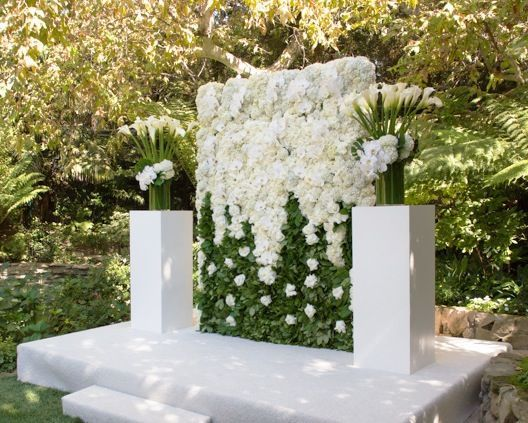 Large white floral wall wedding altar created and shared for Picture arrangements for large walls