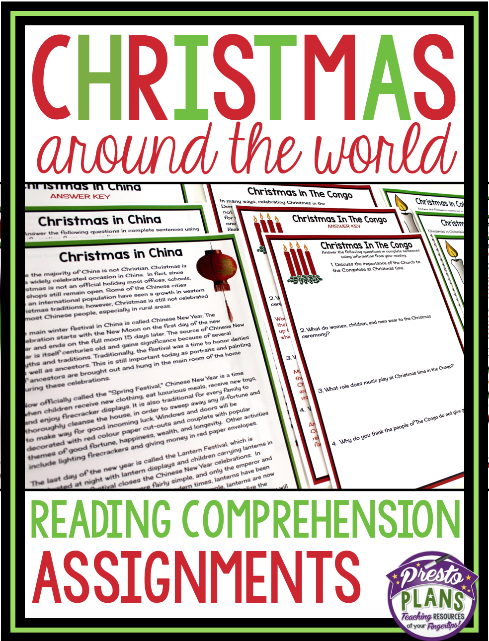 CHRISTMAS AROUND THE WORLD READING COMPREHENSION   Reading comprehension [ 1290 x 984 Pixel ]