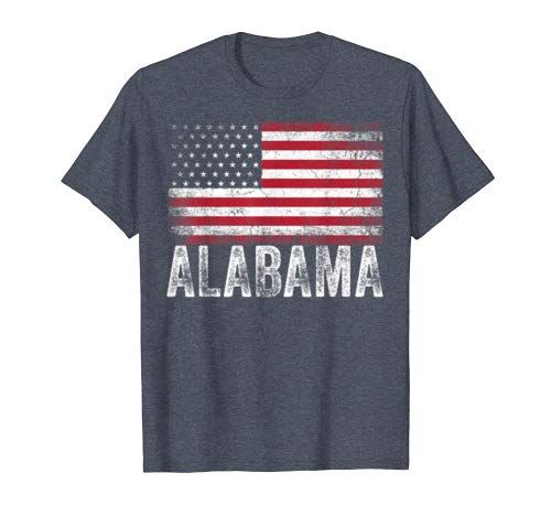 Alabama American Flag 4th of July Vintage Patriotic USA Gift T-Shirt #americanflag