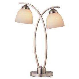 In the bonus room 22-1/4-in Brushed Nickel Table Lamp with White