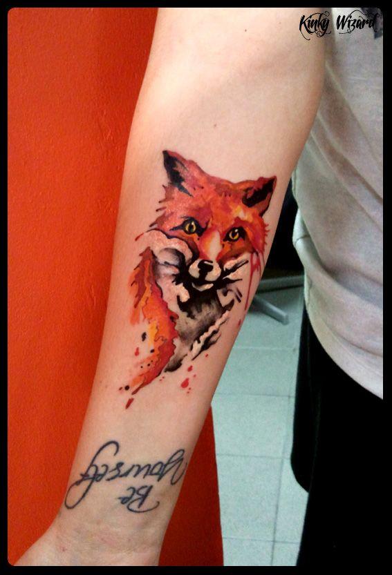 Watercolour Tattoo Fox Kinkywizard Tatuaż Lis Kinkytat