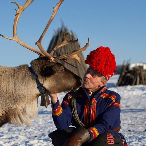 Sami in traditional clothing, with his reindeer. Lainio, Lapland, Finland