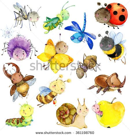 Funny Insects Collection Watercolor Cartoon Insect Wasp Bee