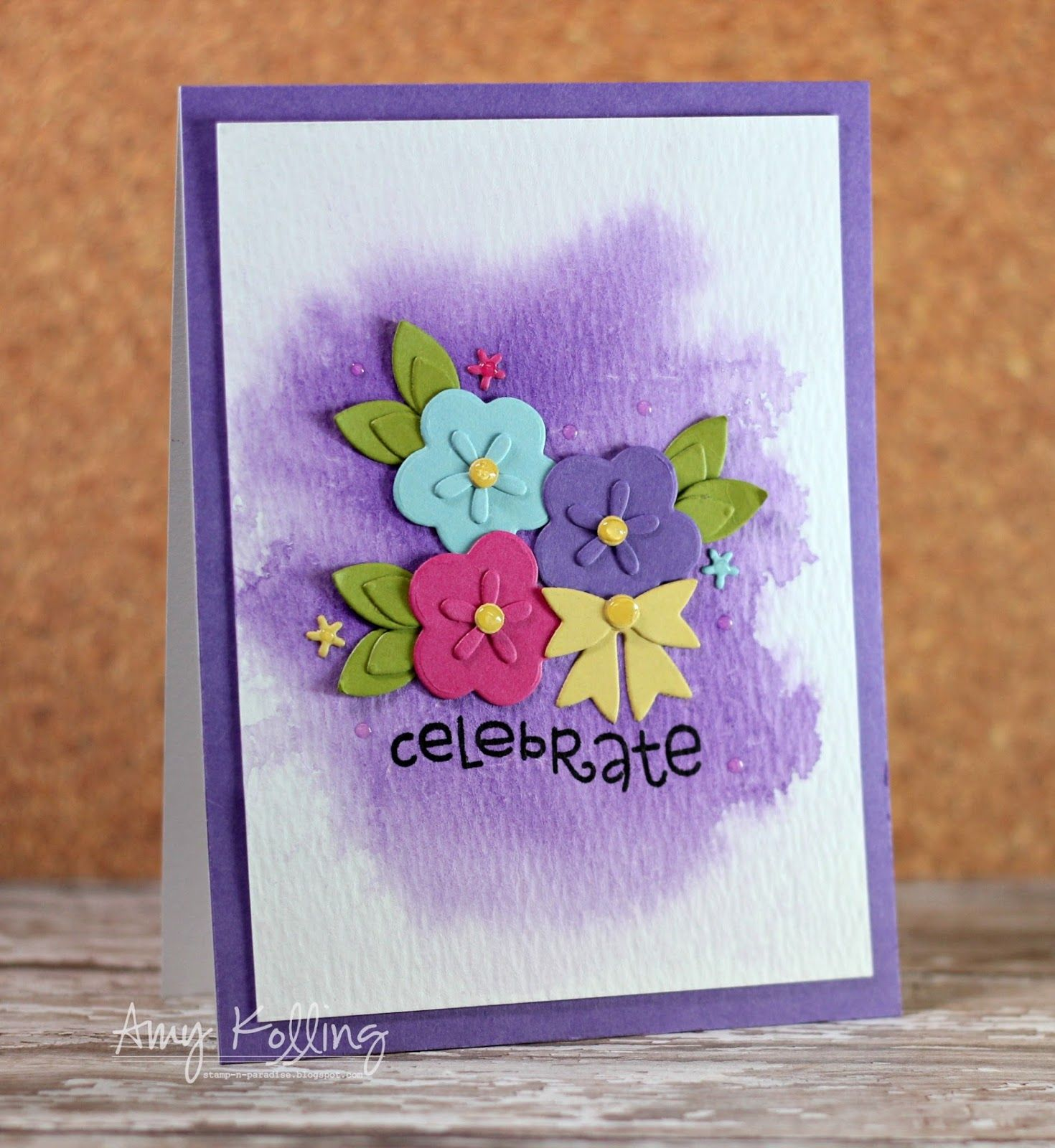 Celebrate card by amy kolling for paper smooches flowers best