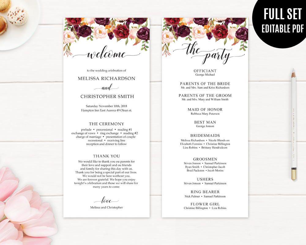 Marsala Wedding Program Template. Printable Wedding Program. Floral ...