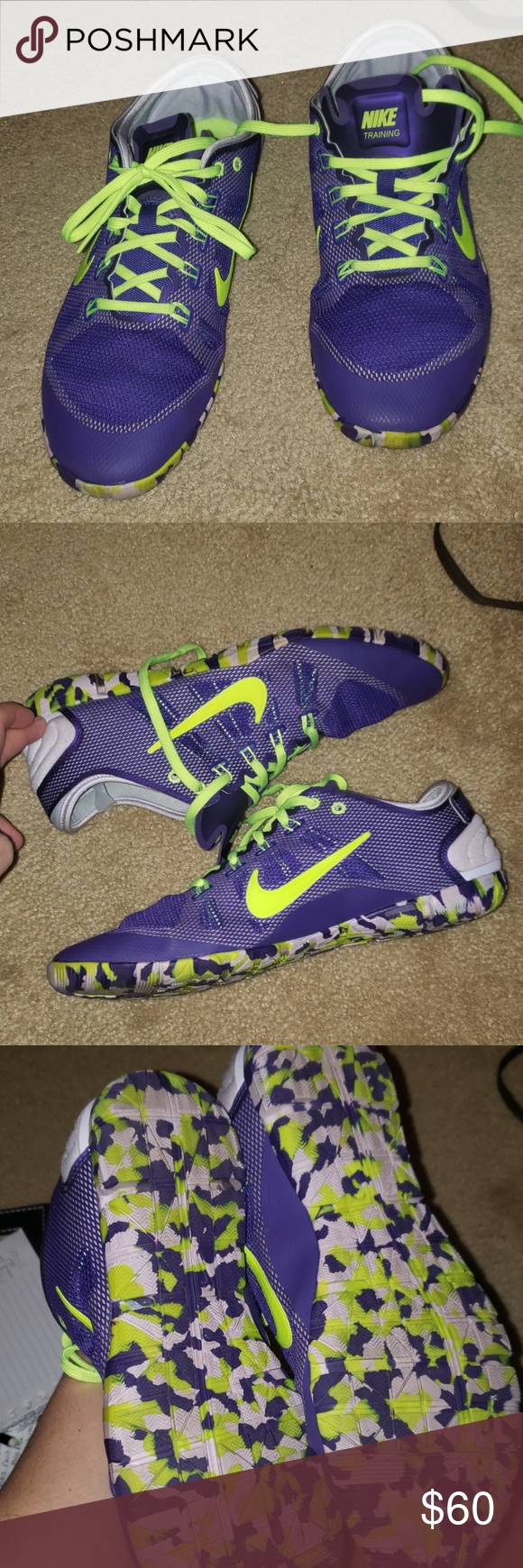 sale retailer 4a512 2eab2 Nike free bionics running shoes Used very good condition have been washed  twice. The Nike emblem has washed off on the footbed. Purple and neon green.