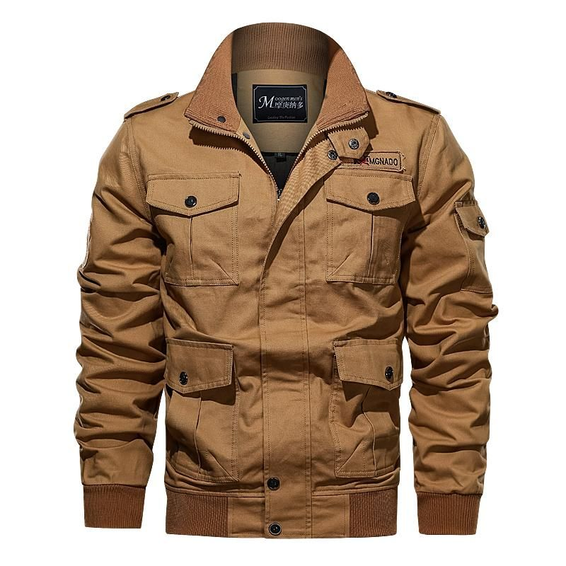 Mens Cotton Bomber Military Jacket Multi-Pocket Removable Hooded