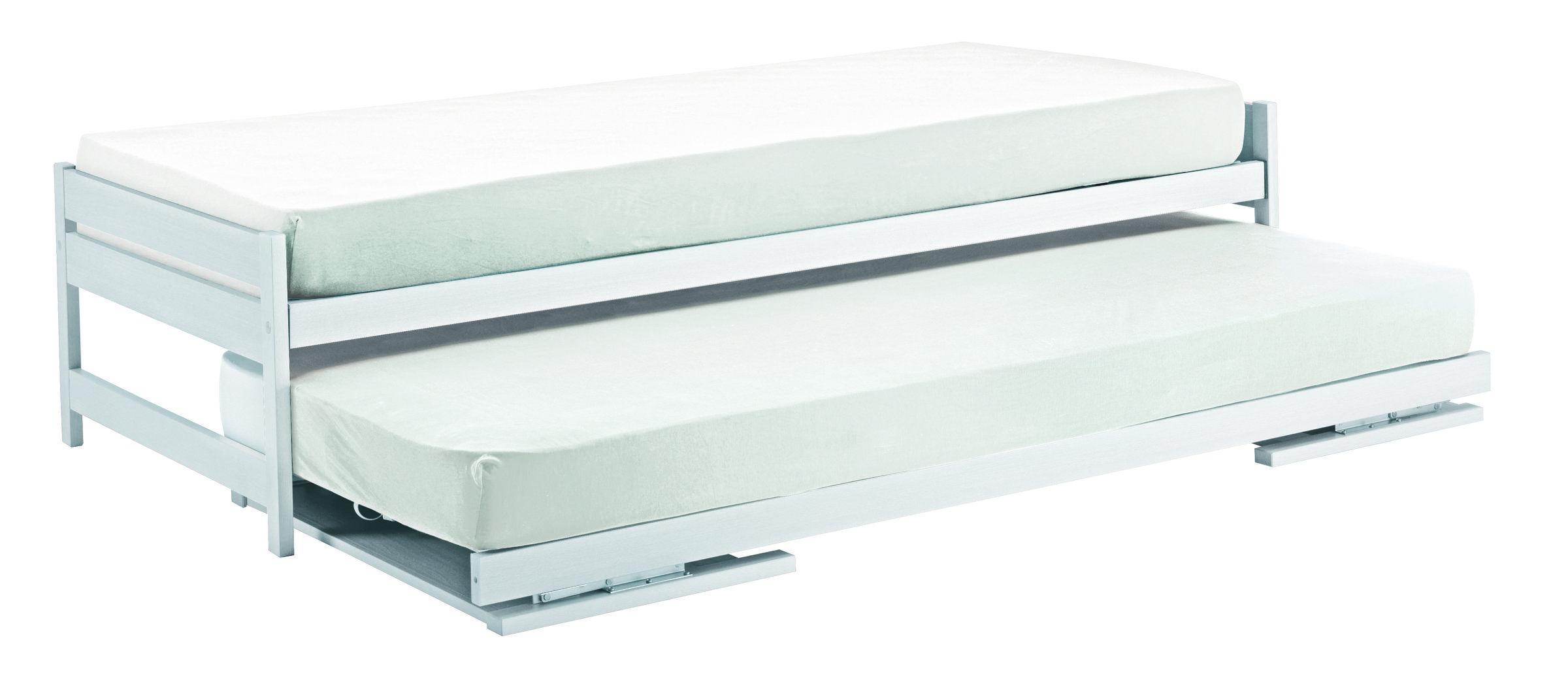 Doppelcouch Twin Ii Ausziehbar Zu Doppelbett Inkl Lattenrost Weiss Lackiert Couch Bett Raumsparbett
