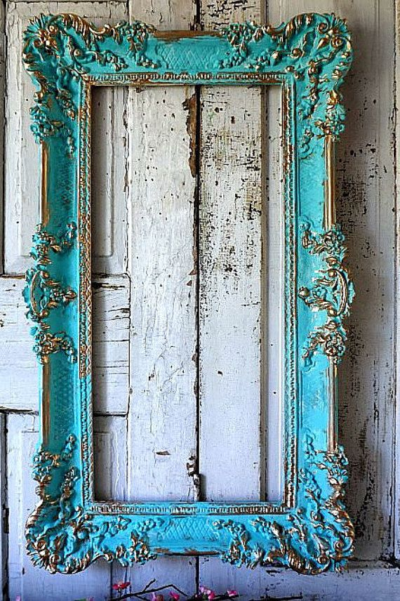 Aqua picture frame wall hanging shabby cottage chic distressed hand ...