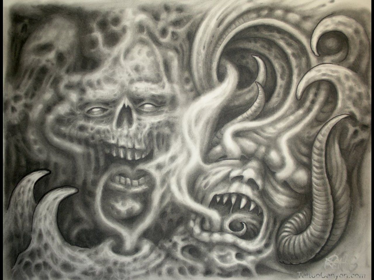 Skulls Demons And Smoke Free Download Tattoo 16952 Picture 10956 Tattoo Sleeve Filler Demon Tattoo Tattoo Background
