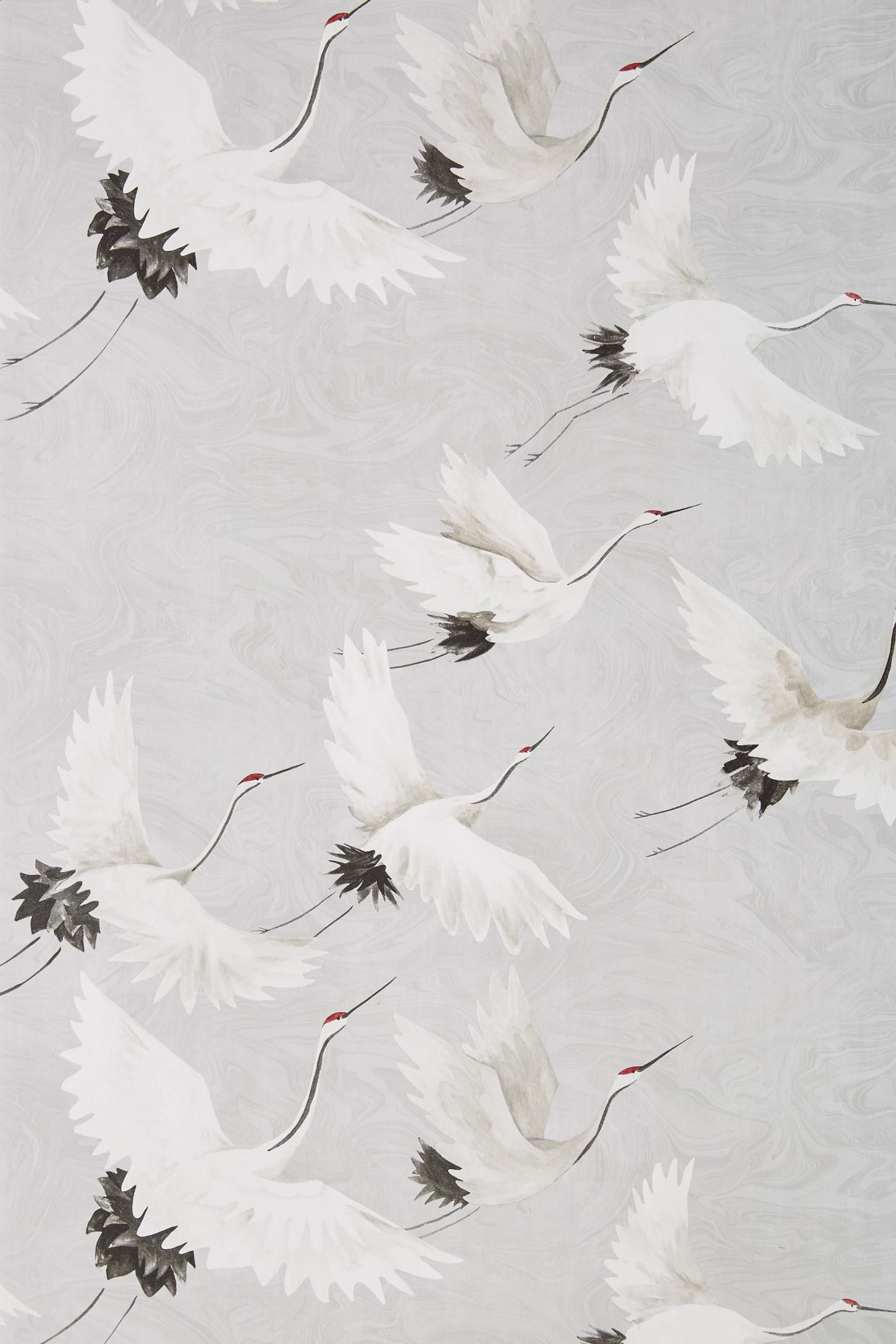 Windsong Crane Wallpaper By Anthropologie In Blue Wall Decor