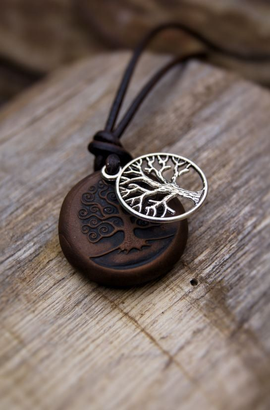 Tree Of Life Unisex Necklace On Leather Earthy