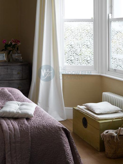 diy frosted window films - much nicer than lace or tulle ...