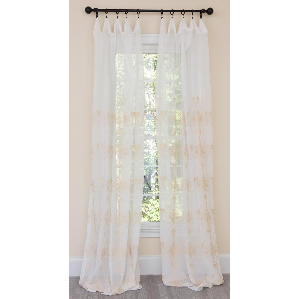 Manor Luxe Mohini Embroidered Sheer Rod Pocket Single Curtain