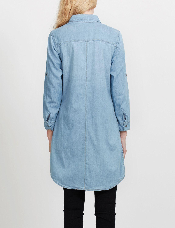 18b7d2c3bc3 Womens Cuffed 3 4 Sleeve Chambray Denim Shirt Dress
