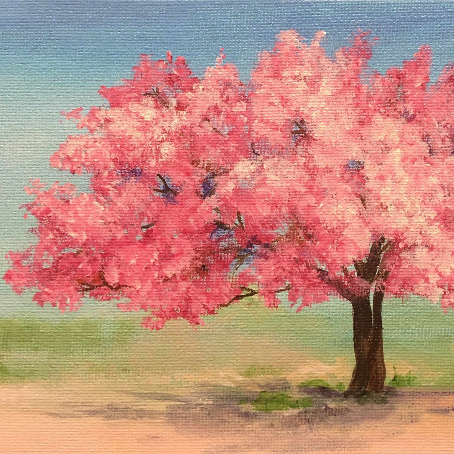 Cherry Tree Painting Cherry Blossoms Pink Tree Tree Art Etsy Tree Art Tree Painting Pink Trees