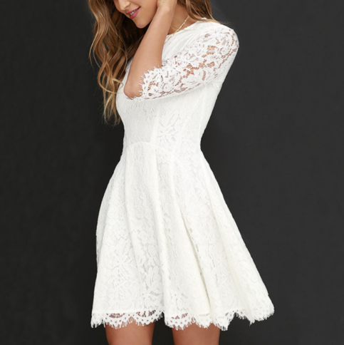 Round Neck Lace Princess Dress from clothing
