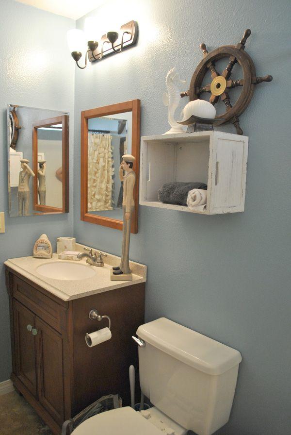 mesmerizing nautical bathroom decor | Nautical bathroom - crate above toilet for towels Love ...