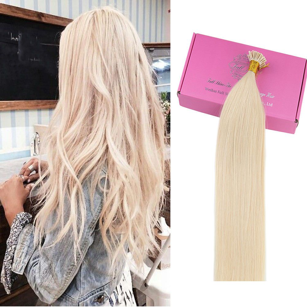 Keratin I Tip Hair Extensions White Blonde Color 60 I Tip Blonde