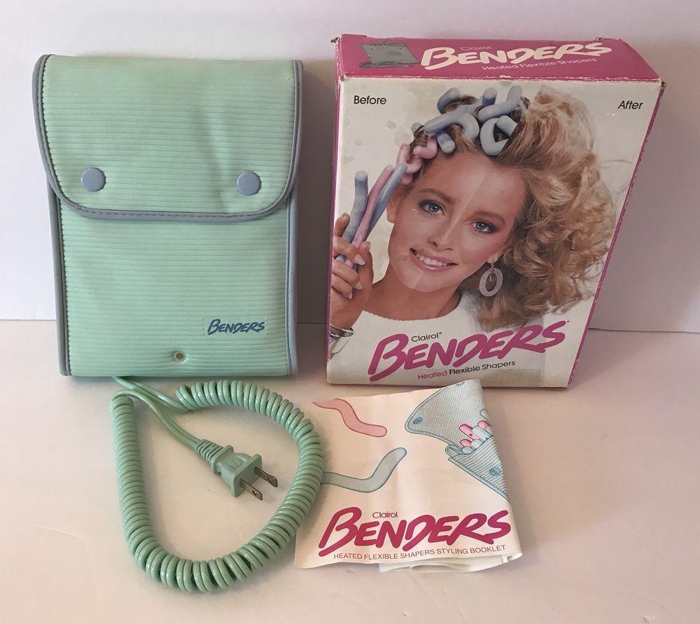 Clairol Benders Heated Flexible Shapers Hair Curlers Hot Rollers Blue Pink