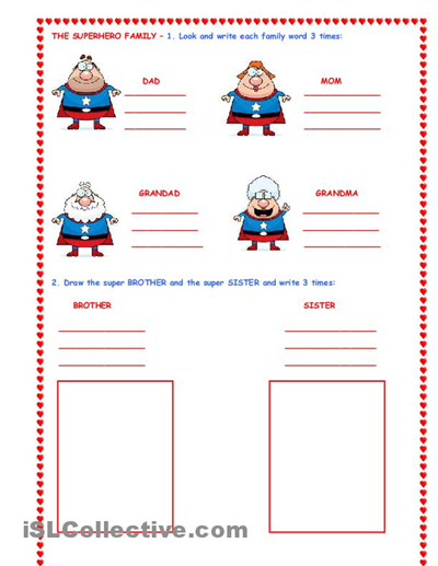 the super hero family worksheet free esl worksheets school classroom. Black Bedroom Furniture Sets. Home Design Ideas