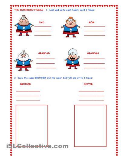 the super hero family worksheet free esl worksheets school classroom. Black Bedroom Furniture Sets. Home Design Ideas