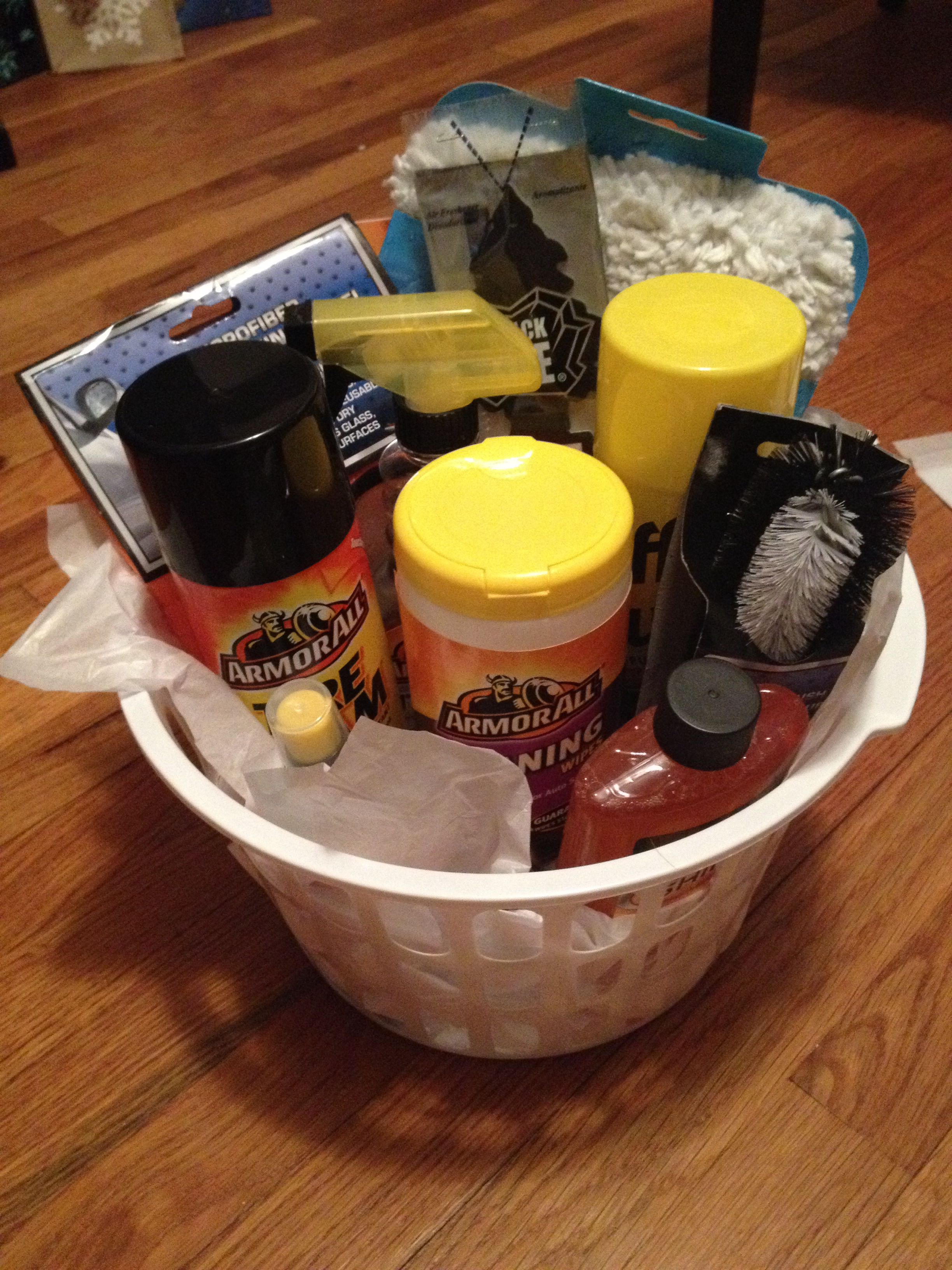 DIY gift for the men in your life.. Dollar store basket
