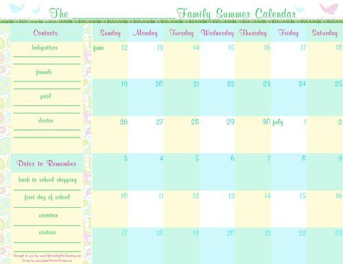 graphic about Printable Family Calendar identified as Free of charge Spouse and children Summer season Creating Calendar Printable Lists
