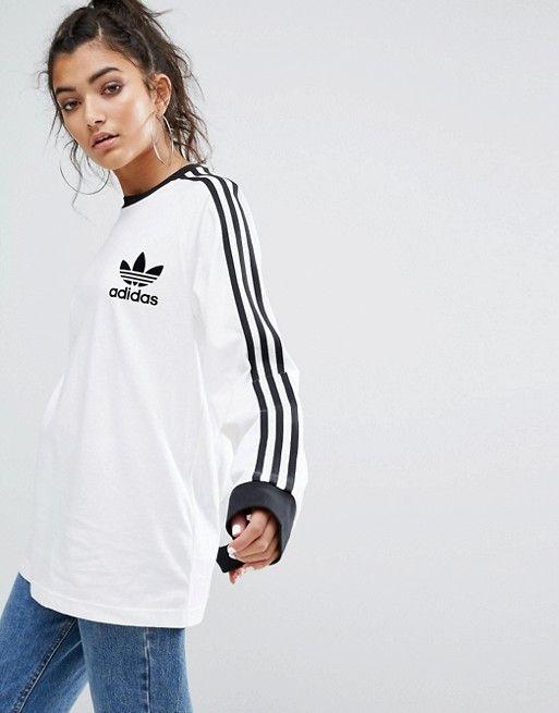 t-shirt manche longue adidas blanc