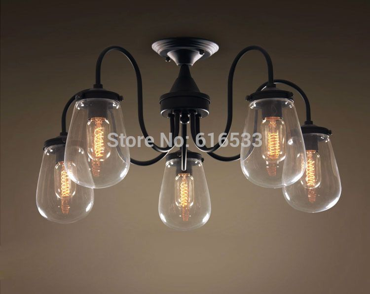 Find More Information About Modern Vintage Loft Industrial American Country Grape Glass Ceiling Plate Lamp Kitchen