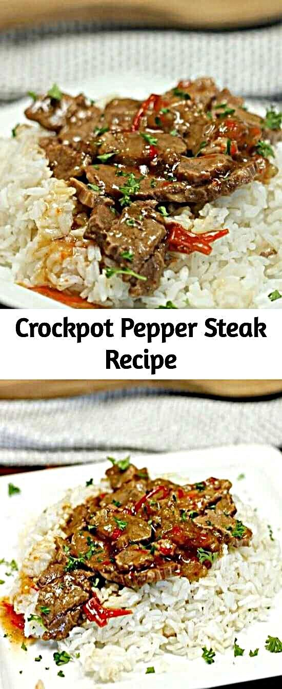 - Looking for an easy crock pot recipe? This Crockpot Pepper Steak Recipe is delicious! Easy pepper...