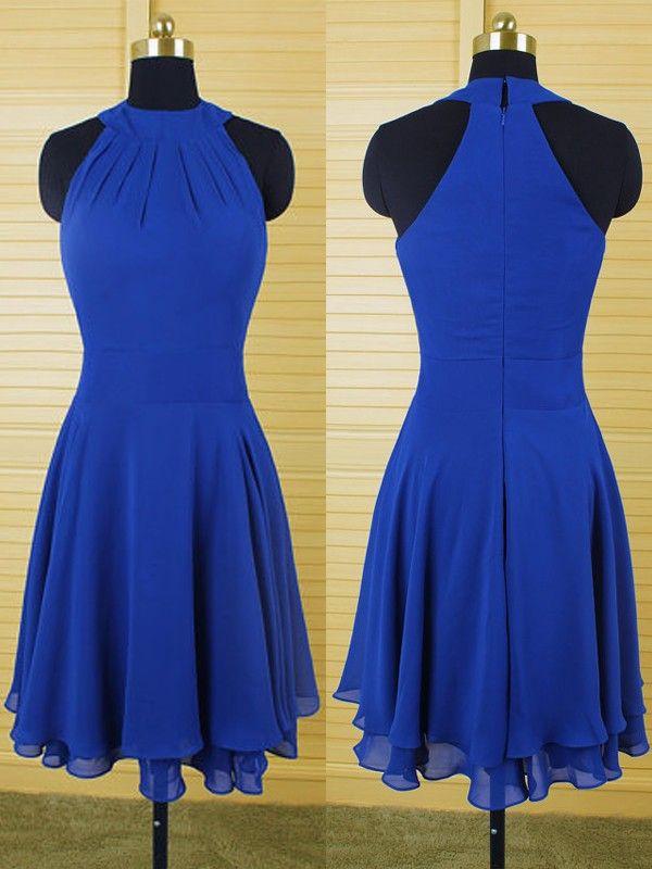 46e8e8ceaf Custom Made Royal Blue High Neckline Chiffon Tiered Knee Length ...