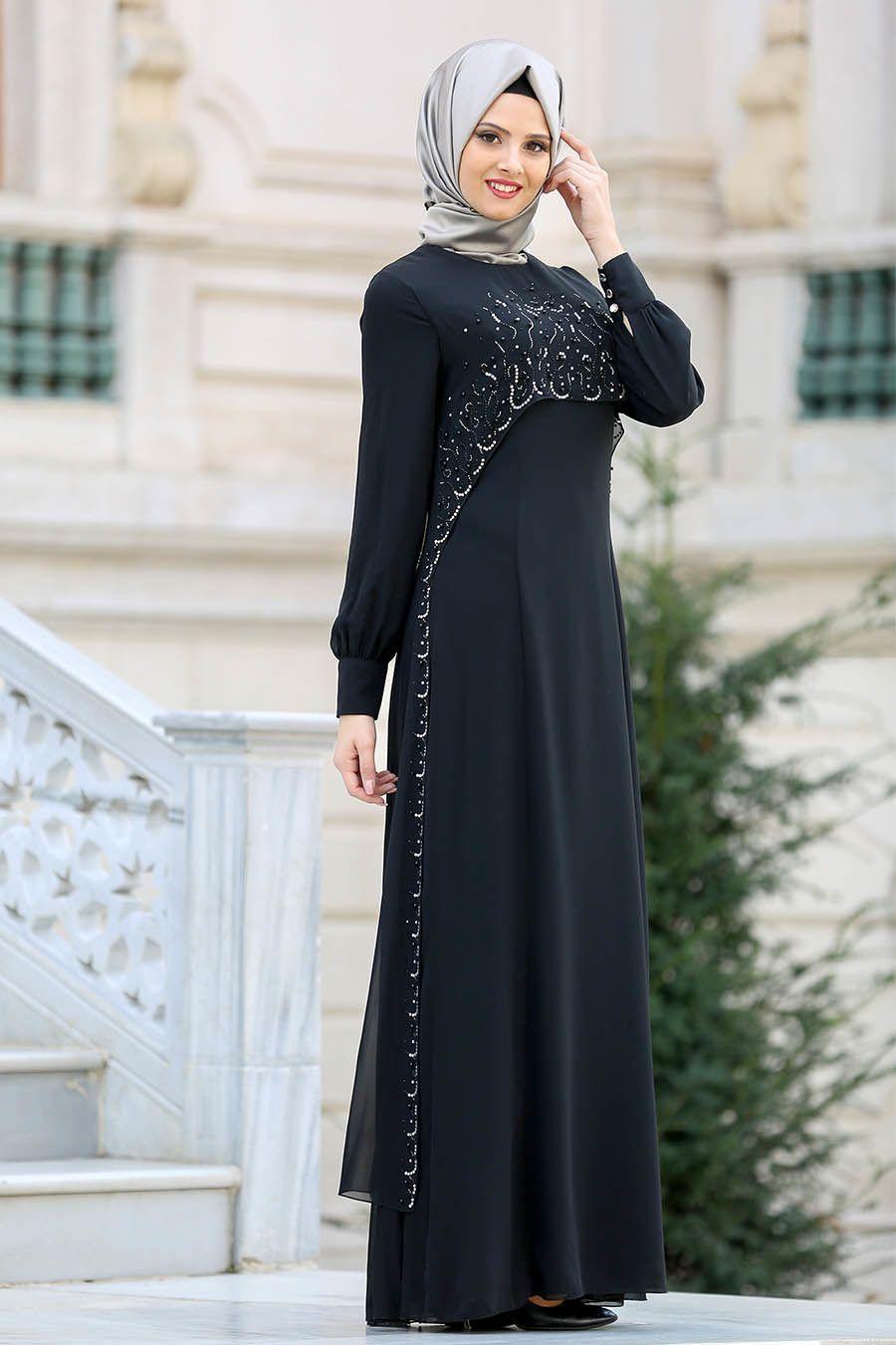 b8270c3ad2600 Neva Style - Boncuk Detaylı Siyah tesettür Abiye Elbise 25625S  #tesetturisland #tesettur #tesetturelbise