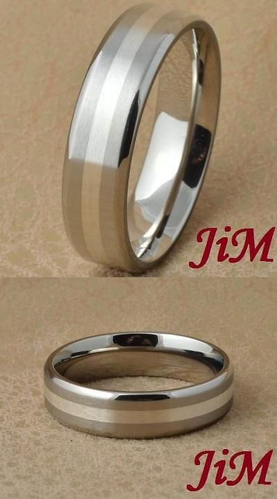 Rings 137856 Anium Ring Silver Inlay Mens Wedding Band Engagement Bridal Jewelry Size 6