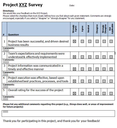 Pm Foundations Project Closure Feedback Survey Questionnaire Template Surveys Survey Template