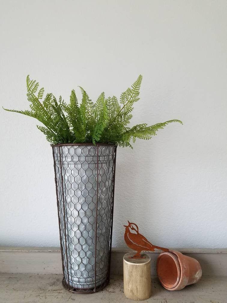 Galvanized metal wall pocket planter chicken wire sleeve
