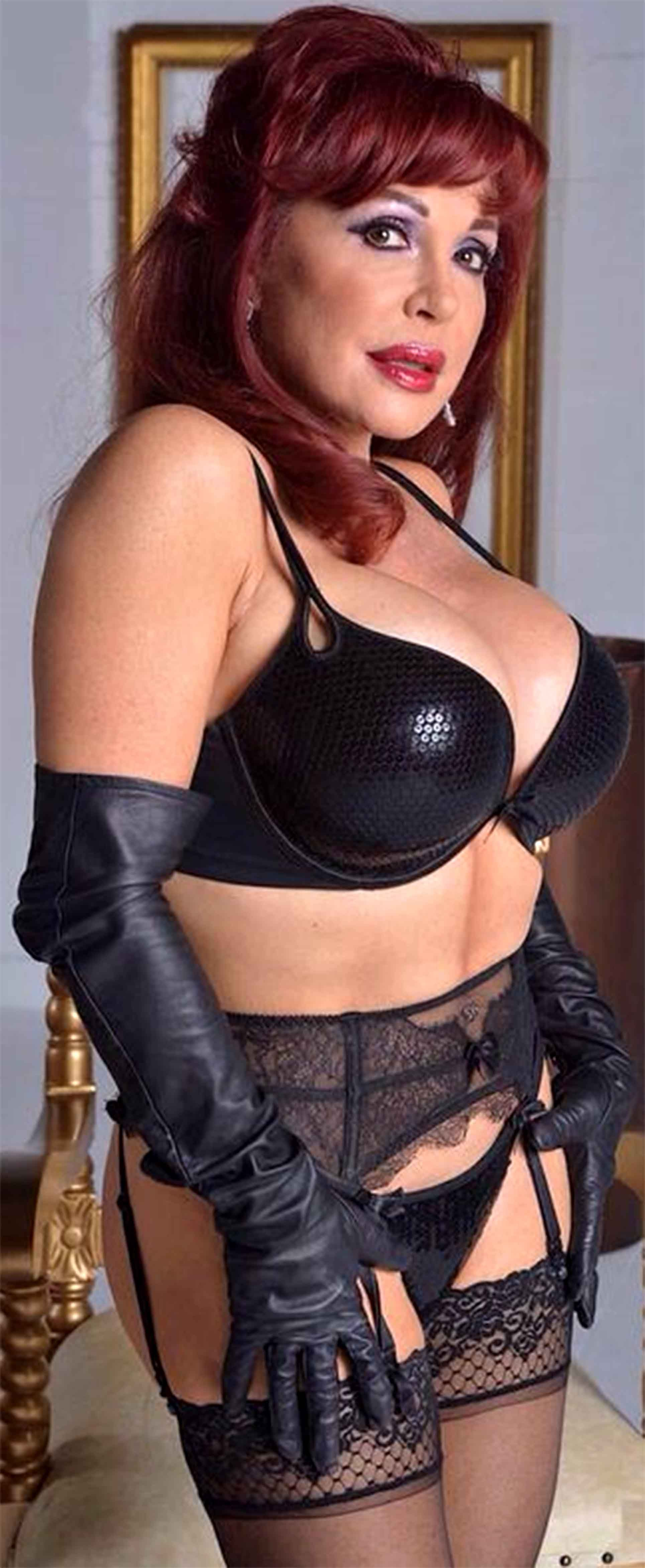 Older milf leather lingerie