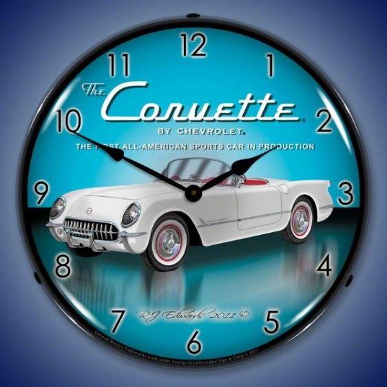 Corvette Archives The Vintage Retro Sign Store Corvette Clock Wall Clock Light Wall Clock